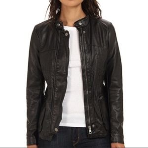 Free People Vegan Faux Leather Black Jacket 4